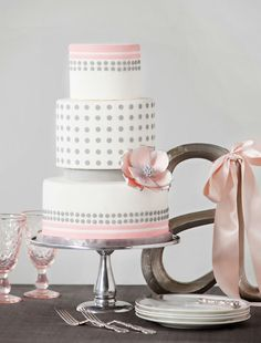 pink and gray cake, baby shower (or have the each their have a different band, pink or blue, and make it a gender reveal cake)
