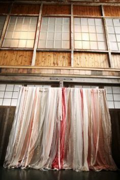 Photobooth Ribbon Backdrop Idea