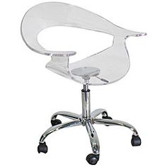 @Overstock.com - Rumor Clear Acrylic Chair - Inspire envy in your coworkers when you pull this stylish clear acrylic chair up to your desk. The curved back and arms gently cradle you while you work, and the rolling casters make it easy to move the chair when you get promoted to a bigger office.  http://www.overstock.com/Home-Garden/Rumor-Clear-Acrylic-Chair/4835288/product.html?CID=214117 $113.99
