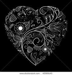 Stock Vector Illustration:  Black and White Valentine Heart illustration. Copyright: Alice