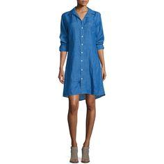 Frank & Eileen Murphy Button-Front Linen Shirtdress (5,325 MXN) ❤ liked on Polyvore featuring dresses, blue, a line dress, linen dress, longsleeve dress, long shirt dress and long sleeve linen dress
