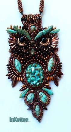 "InKetten: Bead Embroidery; my great horned owl ""Daggobird"" - finished!"
