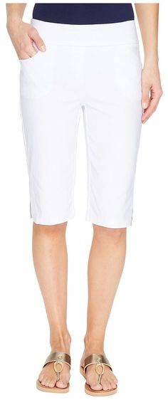 Tribal Stretch Bengaline 13 Flatten It Pull-On Bermuda Short w/ Pocket (White) Women's Shorts - Tribal, Stretch Bengaline 13 Flatten It Pull-On Bermuda Short w/ Pocket, 1671O-803G-110, Apparel Bottom Shorts, Shorts, Bottom, Apparel, Clothes Clothing, Gift - Outfit Ideas And Street Style 2017
