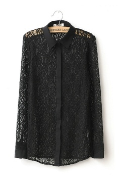 Vintage Long Sleeve Cut Out Lace Shirt