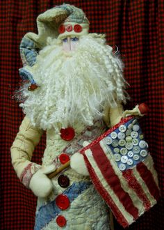 READY to SHIP-Primitive Santa Americana Folk Art by Jangojb