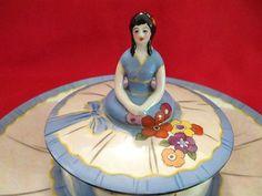 Noritake Art Deco Half Doll Lady Lusterware Powder Jar & Dish~Ornate w/Flowers