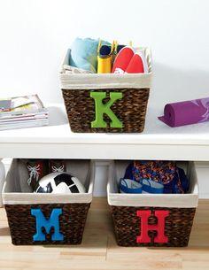DIY Storage Baskets with Initial