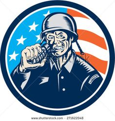 Illustration of a World War two American soldier serviceman biting grenade viewed from front set inside circle with usa american stars and stripes flag in the background done in retro woodcut style. Graphic Illustration, Retro Illustrations, American Soldiers, Veterans Day, World War Two, Royalty Free Stock Photos, Artwork, Flag, Stripes