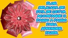 Flor Delicada de Fita de Cetim Maravilhosa Aprenda a Fazer Acompanhando ...