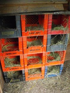 Milk crates..allows the chickens to comfortably roost at night. I want chickens!!!!!