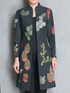 Buy Online Buy Black Green Brocade Applique & Block Printed Reversible Jacket Cotton Silk Apparel Jackets Imperious Brocades Handmade and Batik Blazer, Blouse Batik, Batik Dress, Batik Kebaya, Kurta Designs, Blouse Designs, Dress Designs, African Fashion Dresses, Indian Fashion