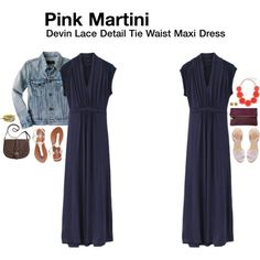 """""""Devin Lace Detail Tie Waist Maxi Dress"""" I really like a tie waist maxi dress, this little bit of sleeve pretty, too.  If it wouldn't be too long on me, it would be a perfect fix."""