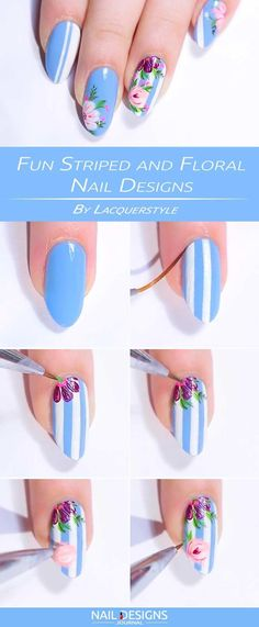 Nail Art Designs 2019 Chinese New Year an Nail Designs For Spring 2019 when Nail Designs With Diamonds few Best Nail Designs Summer 2018 against Daily Nail Care Routine Trendy Nail Art, New Nail Art, Easy Nail Art, Cool Nail Art, Easy Art, Nail Art Designs, Nails Design, Nail Designs Floral, Stripe Nail Designs