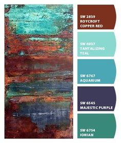 Paint colors from Chip It! by Sherwin-Williams by patsy Paint colors from Chip It! by Sherwin-Williams by patsy Paint Color Schemes, Colour Pallette, Paint Color Combinations, Paint Color Palettes, Wall Colors, House Colors, Colours, Teal Paint Colors, Rust Paint