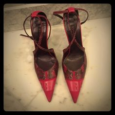 Escada pumps Suede, Python and leather Escada heels. In great condition. Heel height is 3 1/2 inches. Escada Shoes Heels