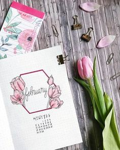 Bullet journal monthly cover page, February cover page, flower drawing, tulip drawing. | @thuys.bujo