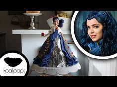 Disney Descendants Villains party - Cake ideas Evie's Doll cake video tutorial. READ IT:  http://grown-up-disney-kid.tumblr.com/post/131391331244/how-to-have-a-wickedly-evil-descendants-party