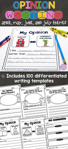 Children love to voice their opinions about everything, and these 100 differentiated opinion writing templates will surely excite and engage them! The topics are interesting and relevant to young learners. Students will state their opinion about a variety of topics, supply a reason (or two or three) for their opinion, and provide a sense of closure.