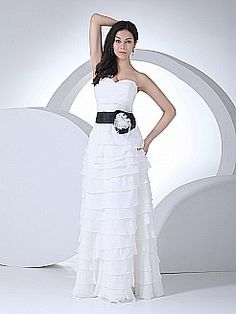 Strapless Ruffled Chiffon Wedding Dress with Contrasting Floral Sash - USD $158.00