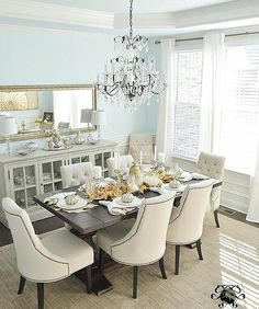 dinning room decor Kelley Nan: An Honorary Mothers Day Table - Blue Dining Room and Crystal Chandelier Dining Room Blue, Dining Room Sets, Dining Room Design, Dining Room Furniture, Dinning Room Ideas, Room Chairs, Dining Chairs, Formal Dinning Room, Dining Table Runners