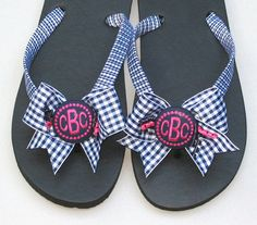 FLIP FLOPS with BOWS Cute Taffeta Check by FlipFlopsforAllShop