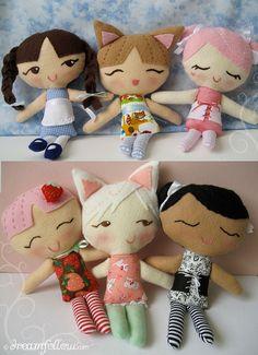 Little Dollies sewing pattern PDF by merwing✿little dear