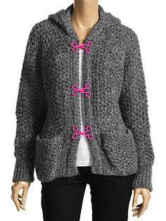 Love the hit of neon Alexander McQueen McQ Knit Hooded Sweater W/ Pink Hook & Eye Detail