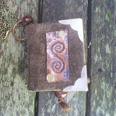 leather bound miniature journal pendant with by johnnythescavenger, £15.00