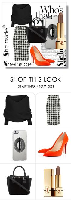 """Sheinside !!"" by dianagrigoryan ❤ liked on Polyvore featuring Lipsy, Christian Louboutin and Yves Saint Laurent"