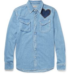 <a href='http://www.mrporter.com/mens/Designers/Kapital'>KAPITAL</a> takes its name from the city of Kojima, widely regarded as the denim capital of Japan. This shirt is rendered from the versatile material in a washed light-blue hue and cut in a comfortable slim fit. It's playfully detailed with two hearts - an indigo appliqué at the front and a pink and teal embroidered version at the back, which give the design a hand-spun appeal. Go for a modern Canadian tuxedo and team it with dark…