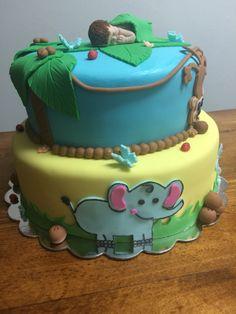 Jungle boy baby shower cake