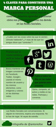Una infografía en español con cuatro claves o consejos que nos ayudarán a crear una marca personal en las distintas redes sociales donde participamos.