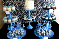 Black White and Blue Snacks! boy baby showers, damask parti, parti idea, kid parties, blue party, babi shower, blue parti, dessert, blue damask