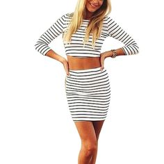 Women's Striped 2pcs Bandage Crop Top and Skirt Combo