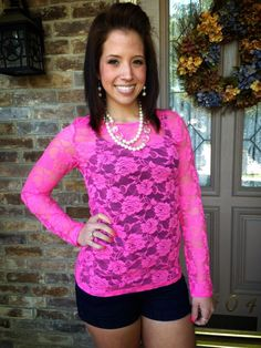 Lace Long Sleeve - Hot Pink Www.ClassyNsassyCreations.com #shopClassyNsassy