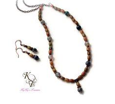 Jasper Jewelry, Jasper Necklace, Blue Necklace, Brown Necklace, Brown and Blue, Jewelry Set, Necklace and Earring Set, Gift Idea, Earth Tone