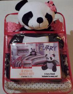Furry Friends Reversible Twin 3 Piece Quilt Set with Plush Panda Bear NEW #FurryFriends #Panda #Novelty