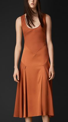 Silk Sateen Contrast Detail Dress | Burberry