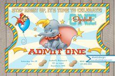 Dumbo Circus Ticket Style Birthday Invitations- Dumbo Invitation