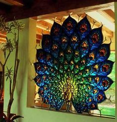 Gorgeous peacock stained glass!