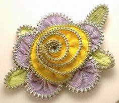 Zipper Flower Pin Brooch Lavender & Yellow