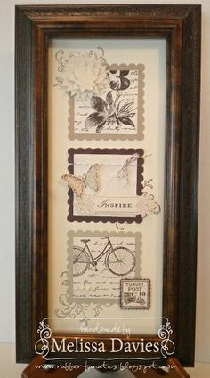 #SU Framed Art  Stamps: Creative Elements, Loving Thoughts, Postage Due    Ink: Early Espresso, Crumb Cake, Sahara Sand    Paper: Early Espresso, Sahara sand, Crumb Cake, Very Vanilla    Accessories: Modern Mosaic embossing folder, Scallop Squares Duo, Postage Punch, Espresso Baker's Twine, Pearls