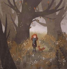 Evening doodle from last night 🍁  #digitalart #illustration #characterdesign #art_helpers #artistofinstagram #artwork_fever #childrensbook #kidlit #characterdesign #art #fox #forest #tree #autumn #leaves #fall