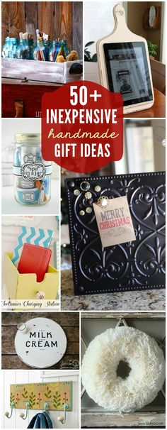 50+ Inexpensive DIY Gift Ideas. Really like that cutting board IPad holder.