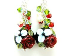 Red Rose Earrings Red White Black Floral by GlassRiverJewelry, $42.00