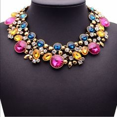 Colorful Gemstones Statement Necklace Beautiful and new! Jewelry Necklaces