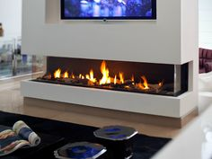 Gas fireplace with panoramic glass PANORAMA 150 - BRITISH FIRES