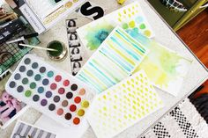 create your own scrapbook backgrounds with simple painted patterns. (watercolor) great idea!