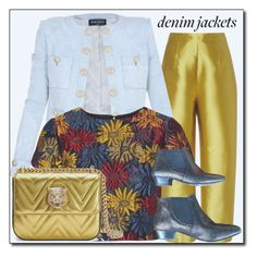 """""""Denim and gold."""" by interesting-times ❤ liked on Polyvore featuring Isa Arfen, Balmain, Alice + Olivia, Gucci and Comptoir Des Cotonniers"""