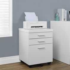 Monarch Specialties White Hollow-Core 3 Drawer File Cabinet on Castors Put the extra in extraordinary with this hollow-core 3 drawer filing cabinet on castors. Office Desk With Hutch, Desk With Drawers, Home Office Desks, Home Office Furniture, Furniture Decor, Office Decor, Office Ideas, Ottoman Furniture, Office Inspo